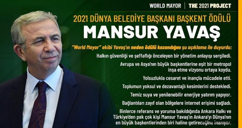 2021 Dünya Belediye Başkanı Başkent Ödülü, Mansur Yavaş'ın